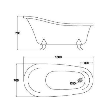 精品古典浴缸KQ-M303