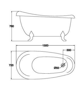 精品古典浴缸KQ-M301