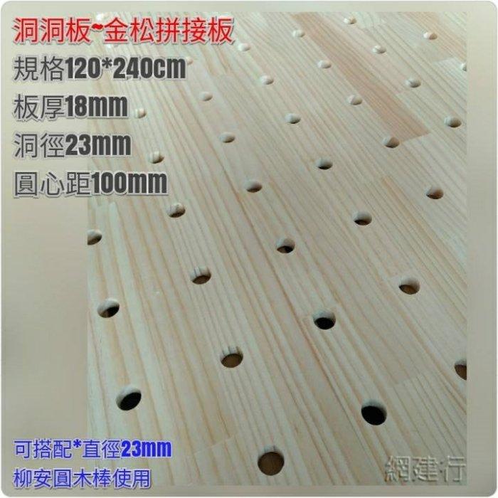 【洞洞板 圓心相距10公分】 金松拼接板 2X8尺*18mm
