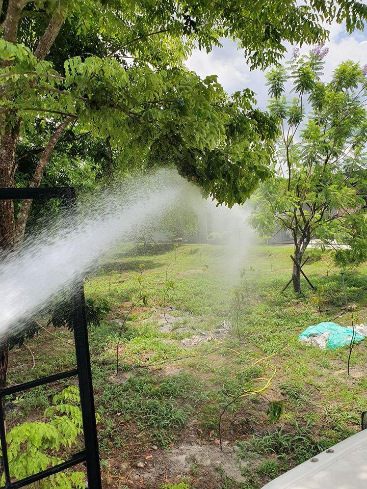 灑水車-天氣炎熱 樹苗灑水養護