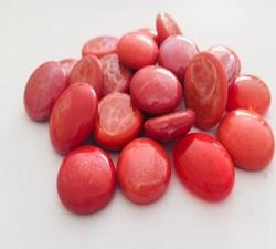 紅彩瓷扁珠玻璃石(約