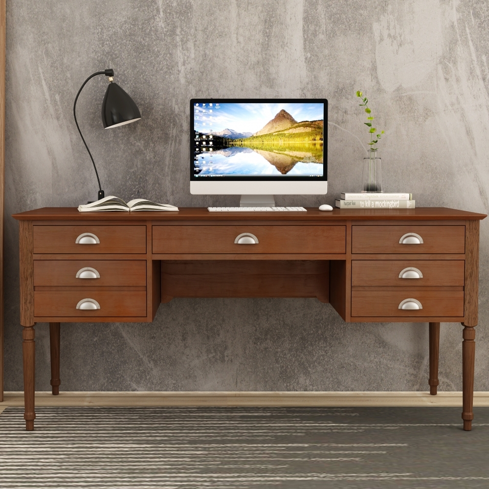 59-5/8in Walnut Multipurpose Home Office Computer