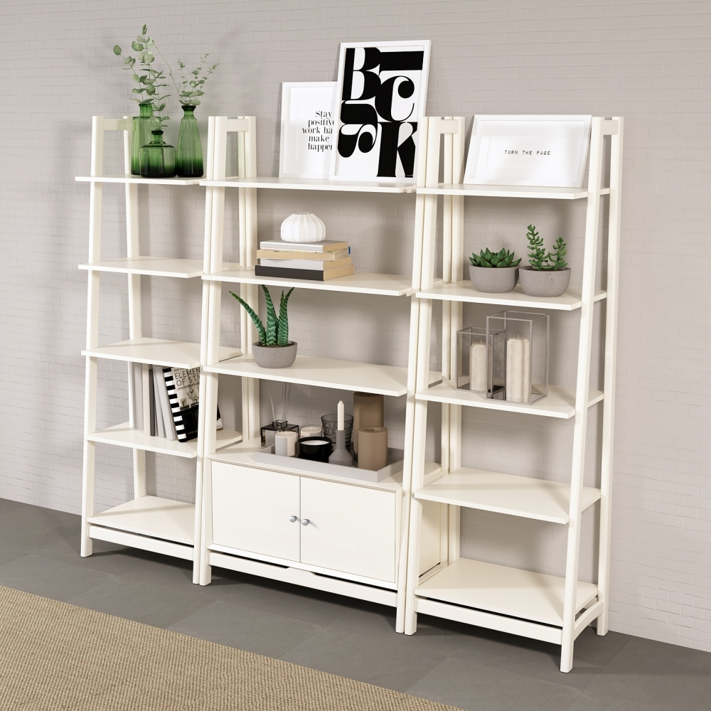 White Wood 4-5-shelf Ladder Bookcase with Open Ba
