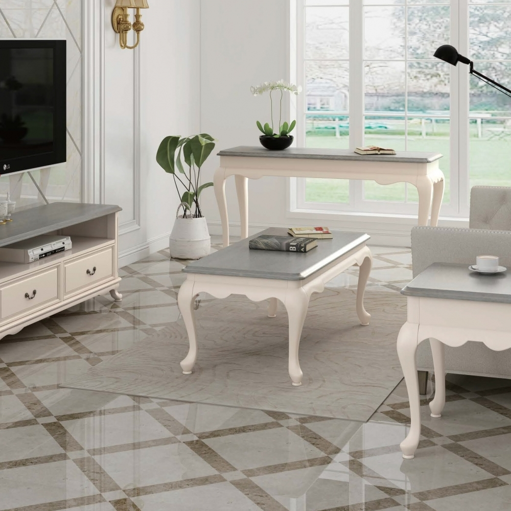 Provence Ivory  living room with Grey Top