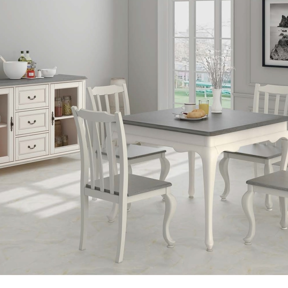 6-Piece Ivory Dining Chair Sideboard Dining Set