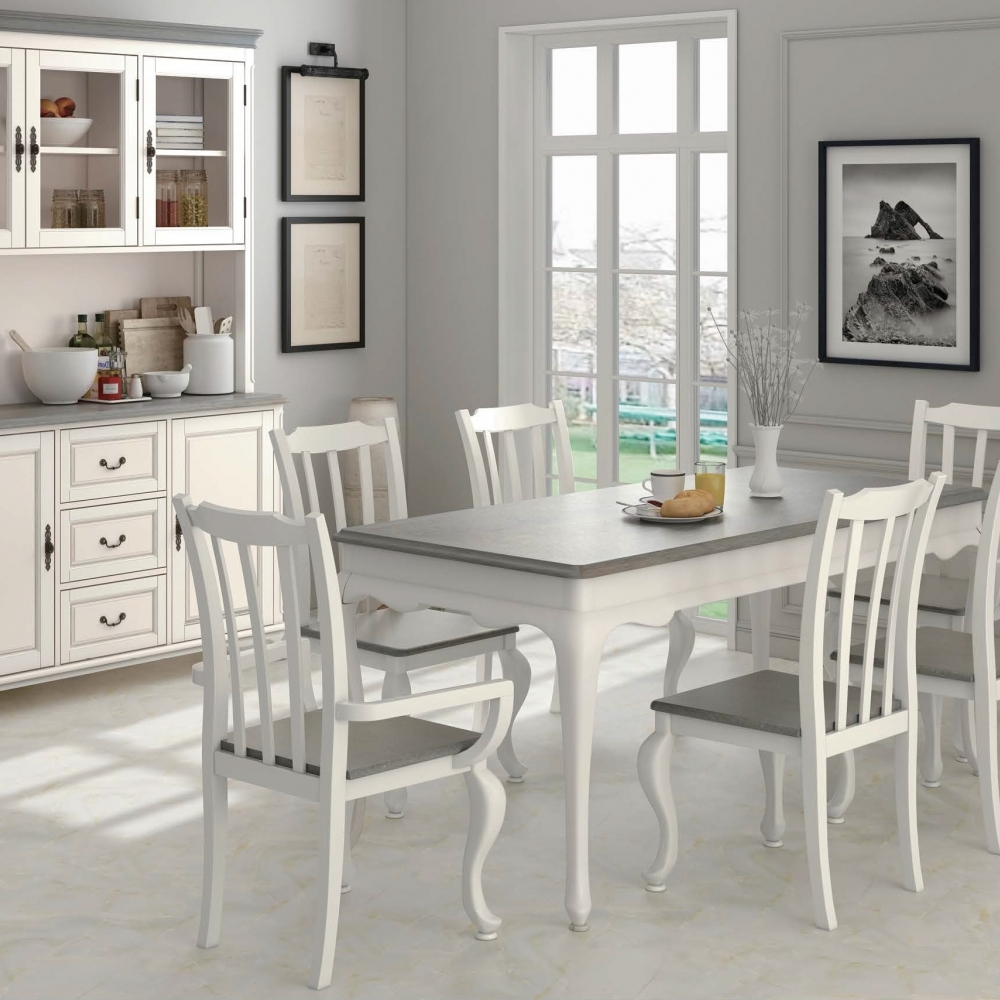 5-Piece Ivory Dining Chair Hutch Buffet Dining Set