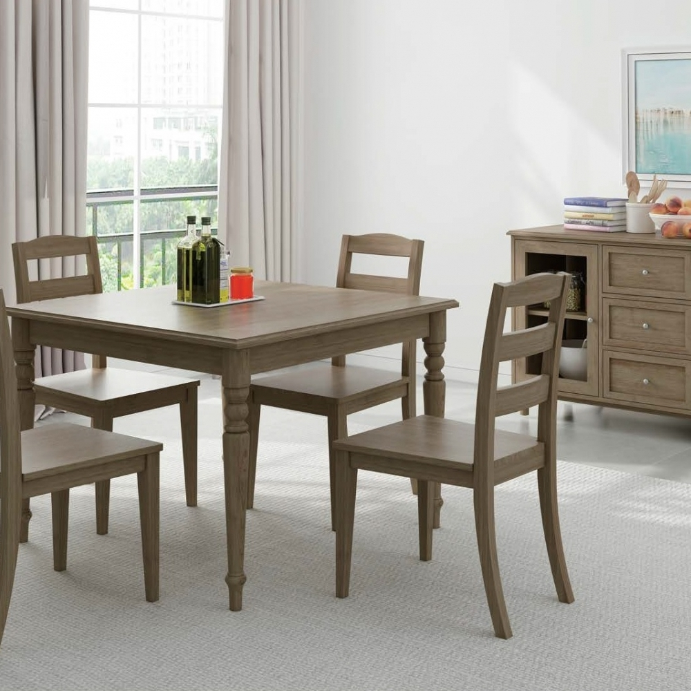 4-Piece Brown Dining Chair Sideboard Dining Set