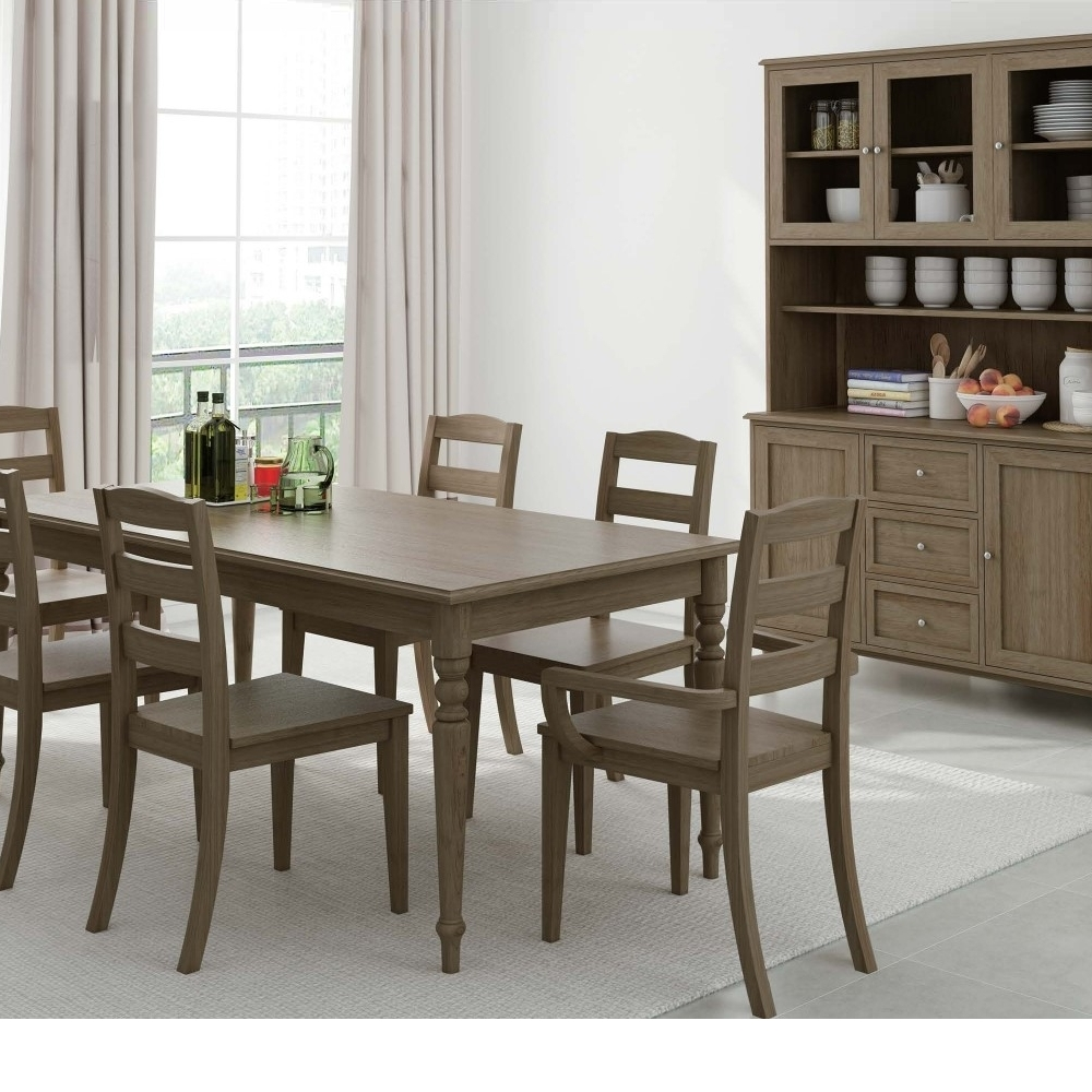 4-Piece Brown Dining Chair Hutch Buffet Dining Set