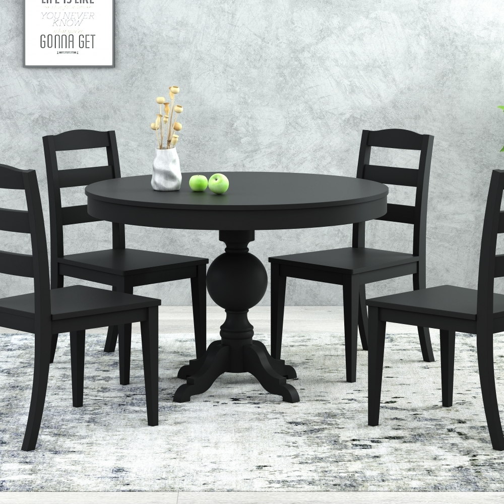 4-Piece  Black Wood Dining Chair Round Dining Tabl
