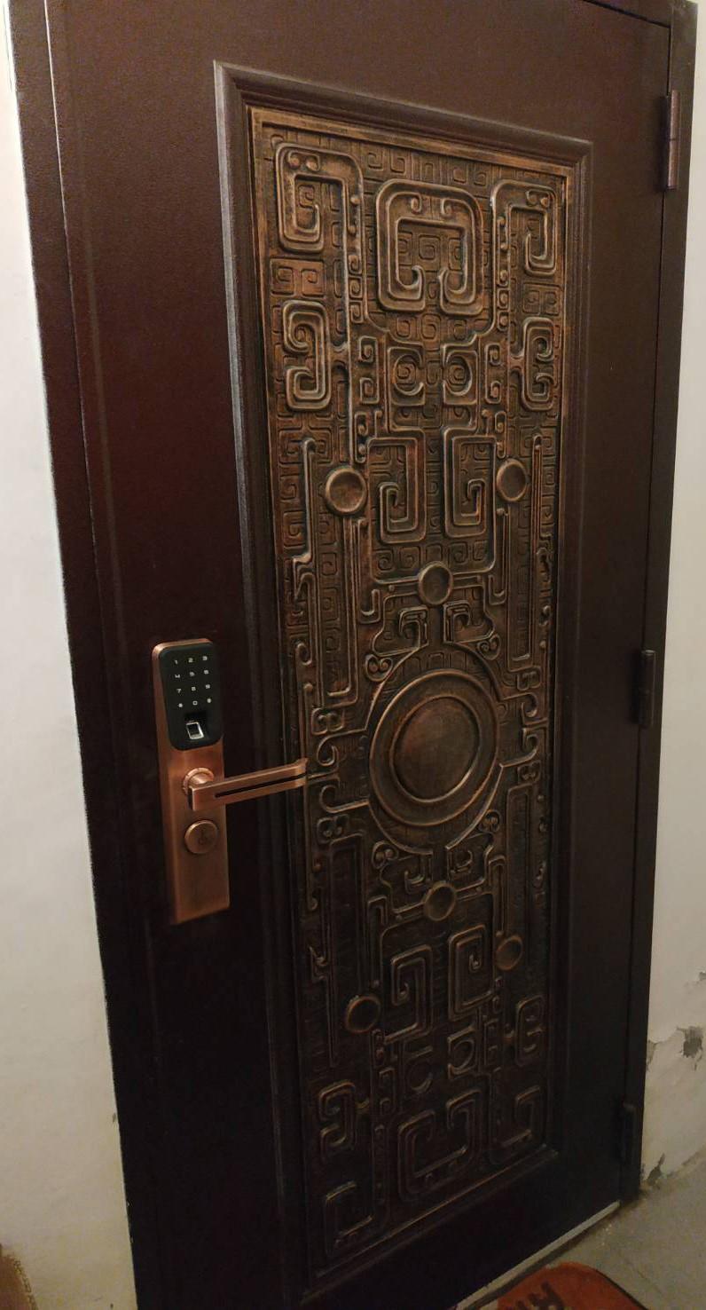 指紋密碼鎖 加 瑞龍磐鼎鑄鋁玄關門48000元含安裝、拆舊門、清運舊門、泥作填縫