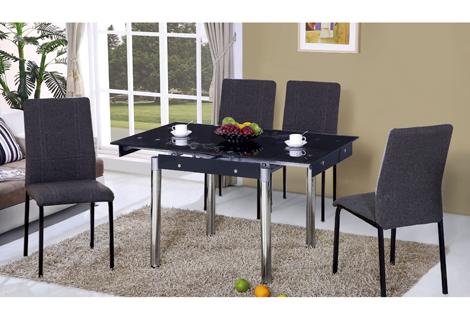 472-2如意黑色玻璃拉合餐桌