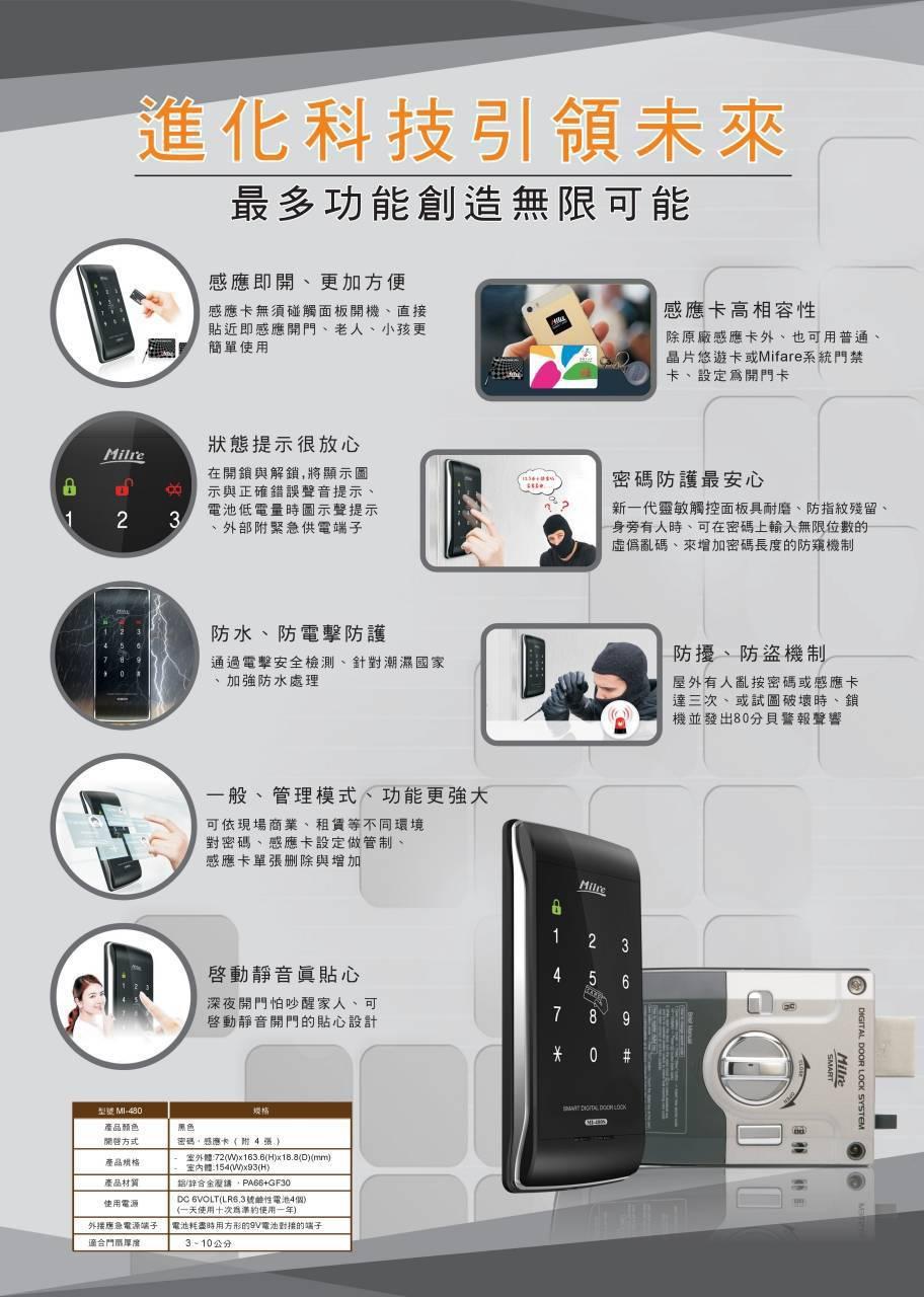 美樂 MILRE MI-480S 卡片/密碼感應電子鎖