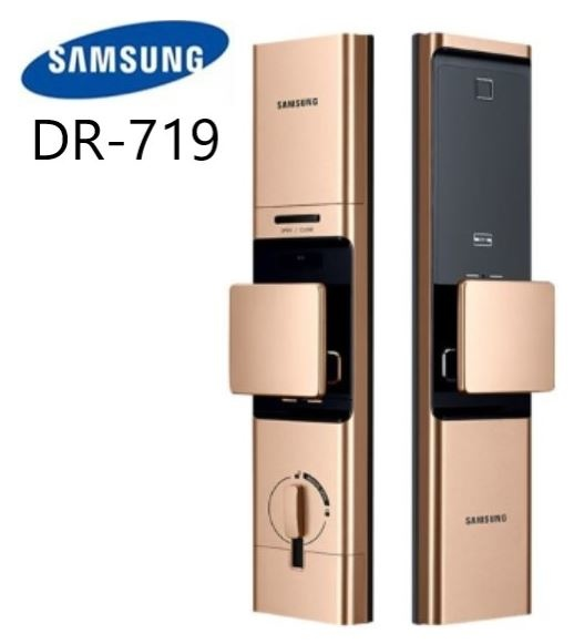 【SAMSUNG 三星】DP719 遠端藍芽卡片指紋密碼鑰匙電子鎖-推拉式