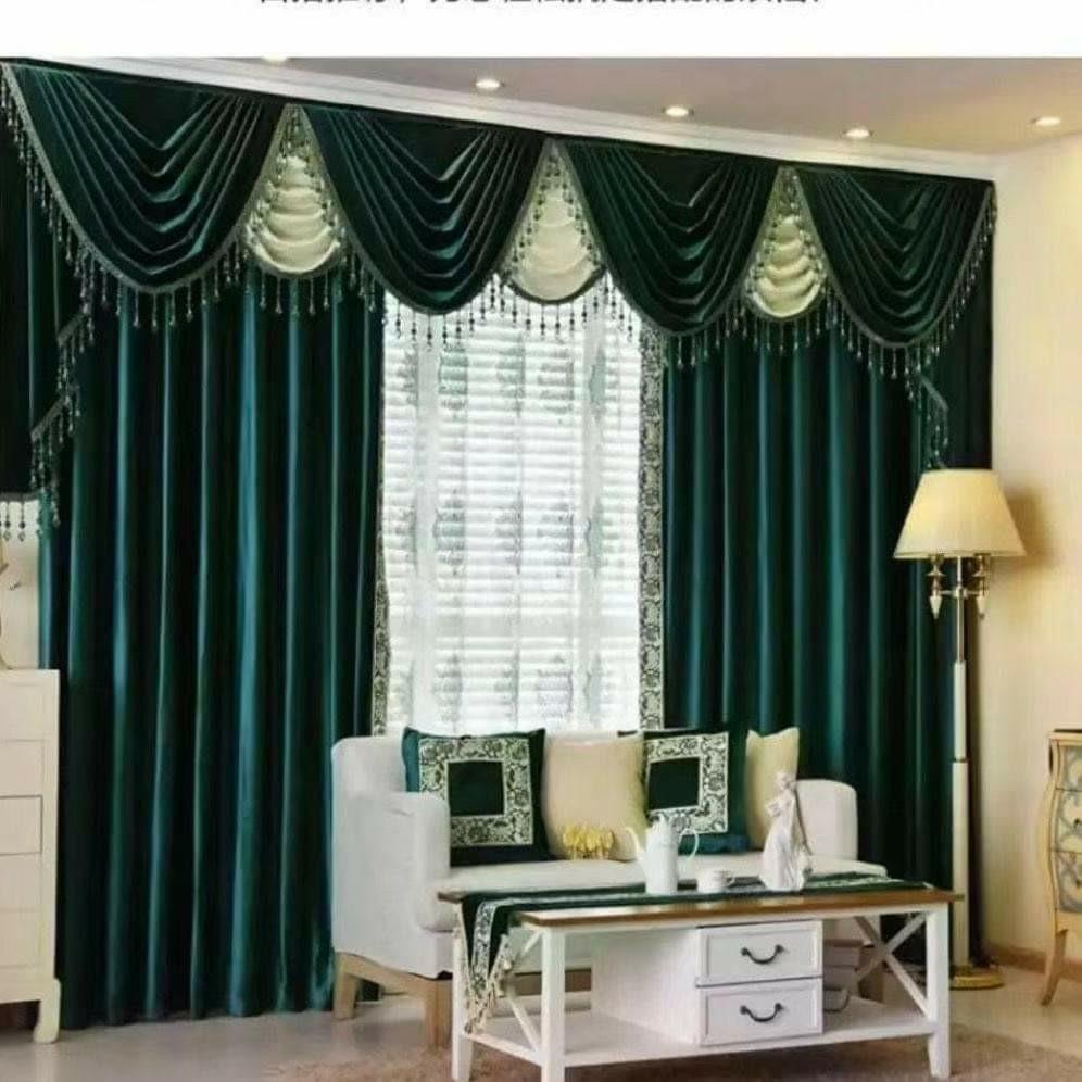 歐式窗簾三折景一布一紗外層可加上蓋